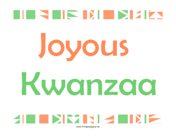 Joyous Kwanzaa Sign