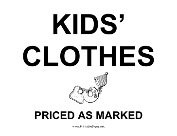 Kids Clothes Yard Sale Sign