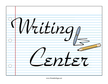 Learning Center Writing Sign