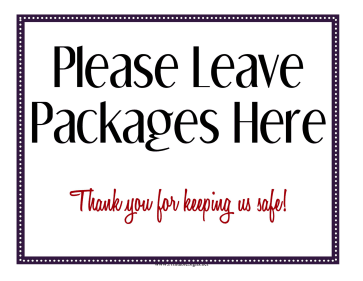 Leave Packages Here Sign