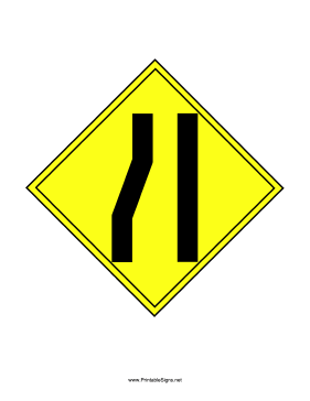 Left Lane Ends Sign Sign