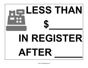Less Than In Register Sign
