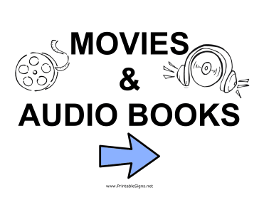 Movies and Audio Books - Right Sign