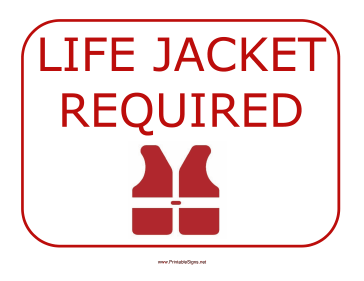 Life Jacket Required Sign