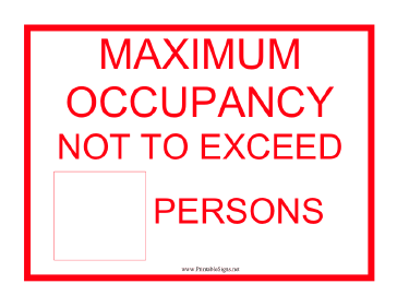 Lift Max Capacity Persons Sign