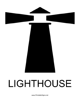 Lighthouse with caption Sign