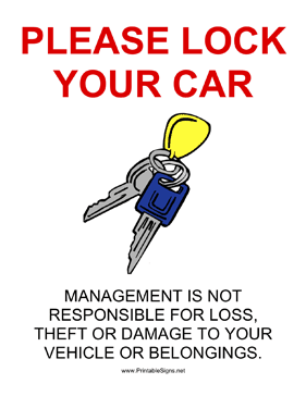 Lock Your Car Sign