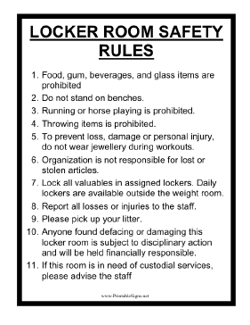 Locker Room Safety Rules Sign