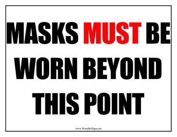 Masks Must Be Worn Sign Sign
