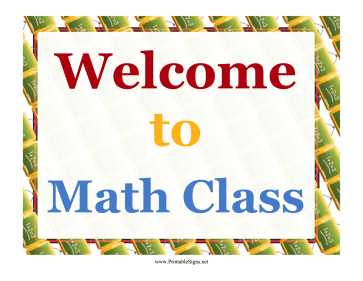 Math Welcome Sign Sign