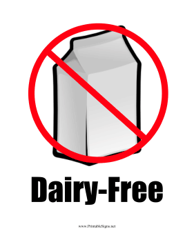 picture relating to No Pets Allowed Sign Free Printable named Printable Milk Allergy (Dairy-Free of charge) Indication
