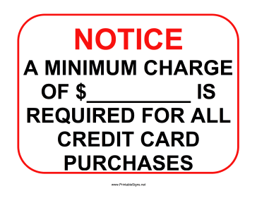Minimum Charge Sign Sign