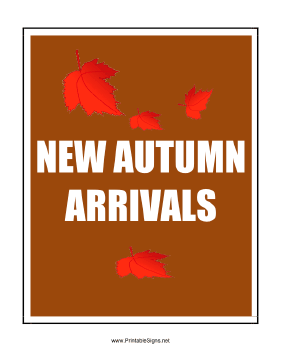 New Autumn Arrivals Sign