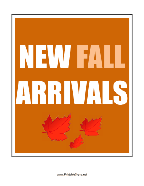 New Fall Arrivals Sign