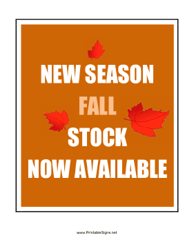 New Season Fall Stock Sign