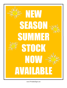 New Season Summer Stock Sign