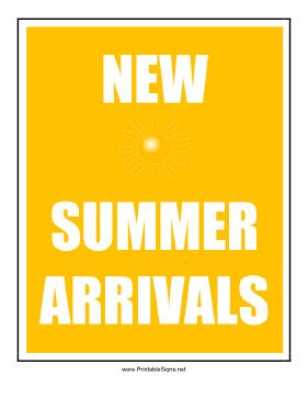 New Summer Arrivals Sign