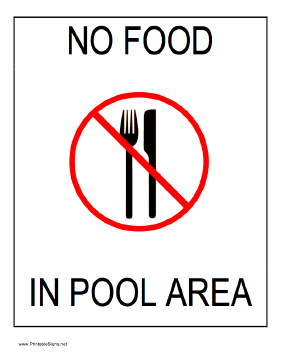 No Food In Pool Area Sign