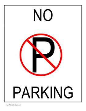 Printable no parking sign for No parking signs template