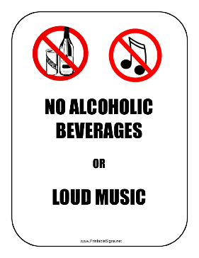 No Alcohol Music Sign