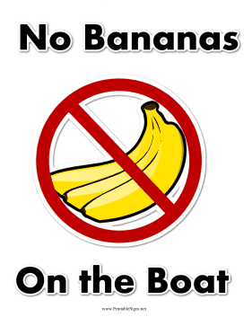 No Bananas On Boat Sign