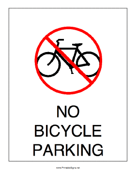 No Bicycle Parking Sign
