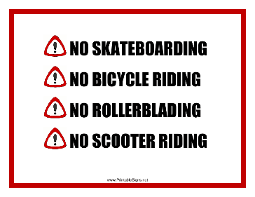 No Board Bike Blade Scooter Sign