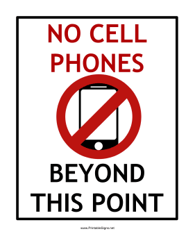 No Cell Phones Beyond This Point Sign