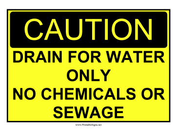 No Chemicals Or Sewage Sign