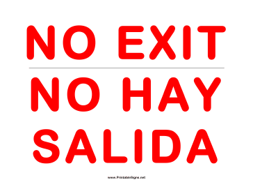 No Exit Salida Sign