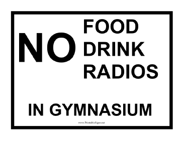 No Food Drink Radio Sign