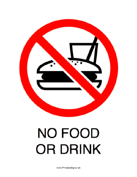 No Food Or Drink Sign