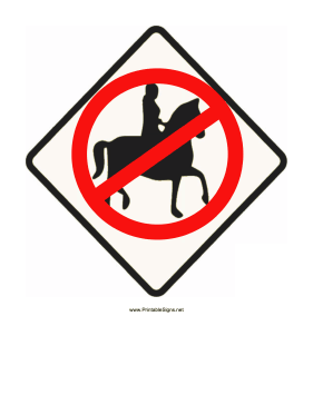 No Horseback Riding Sign