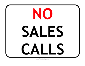 No Sales Calls Sign