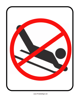 No Sledding Sign Sign