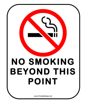 picture about Printable No Smoking Sign titled Printable No Cigarette smoking Over and above This Stage Indicator