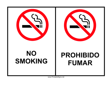 photo about Printable No Smoking Sign titled Printable No Cigarette smoking Bilingual Indicator