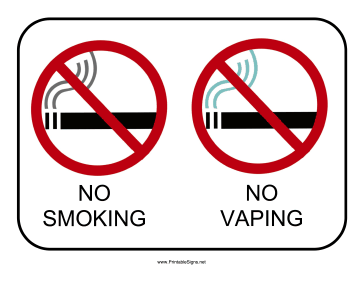 picture about Printable No Smoking Sign named Printable No Smoking cigarettes No Vaping Signal Indicator