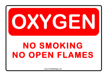 No Smoking Oxygen Alert Sign