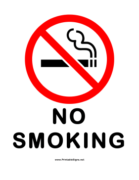 No Smoking Red White Sign