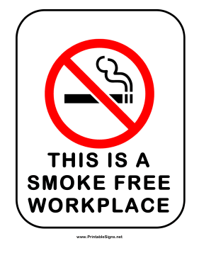 No Smoking Smoke Free Workplace Sign