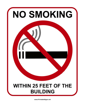 photograph relating to No Smoking Sign Printable titled Printable No Cigarette smoking in just 25 Toes Indicator