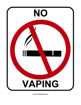 No Vaping Sign Sign