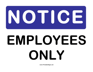 image relating to Printable Employees Only Sign named Printable Consideration Workforce Just Signal