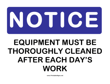 Notice Equipment Cleaning Sign