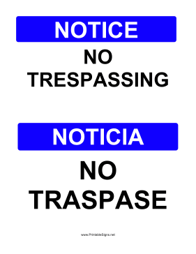 image about Printable No Trespassing Sign named Printable No Tresping Bilingual Indicator