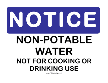 Notice Non Potable Water No Drinking Sign