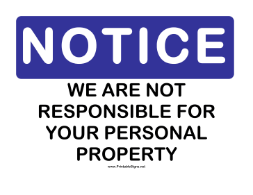 Notice Personal Property Sign