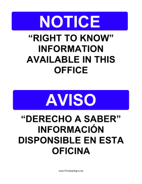 Right To Know Bilingual Sign