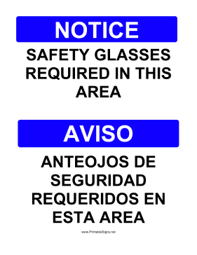 Safety Glasses Bilingual Sign
